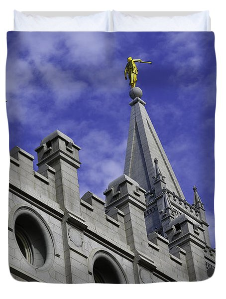 Angel On The Temple Duvet Cover