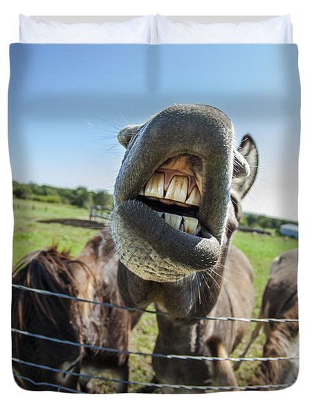 Animal Personalities Silly Talking Donkey With Whiskers Duvet Cover by Jani Bryson
