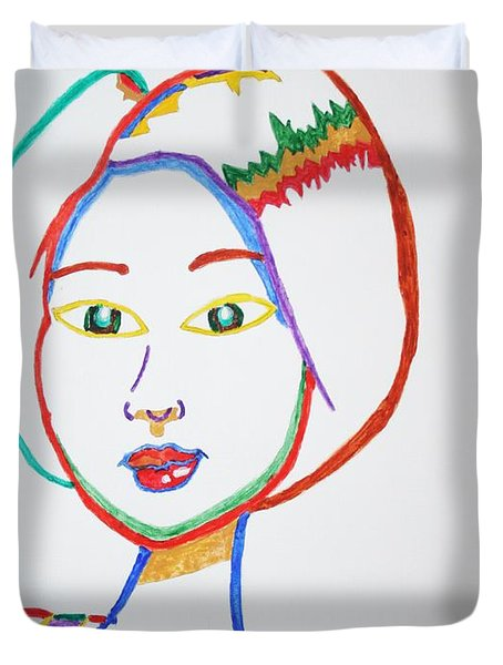 Duvet Cover featuring the painting Anime Asian Girl by Stormm Bradshaw