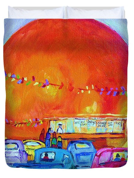 Duvet Cover featuring the painting Antique Cars At The Julep by Carole Spandau