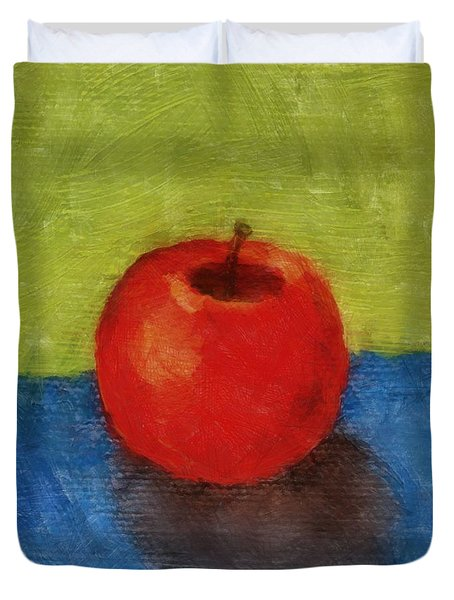 Apple With Green And Blue Duvet Cover