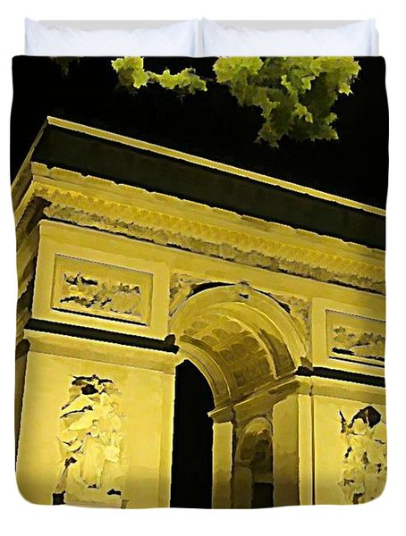 Arc De Triomphe At Night Duvet Cover by John Malone