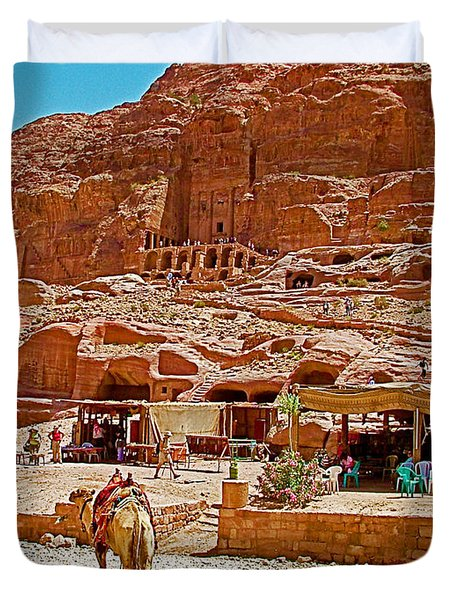 Area In Front Of Tombs Of The Kings In Petra-jordan Duvet Cover by Ruth Hager
