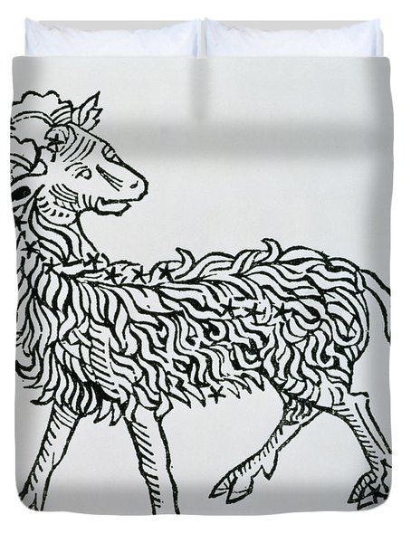 Aries An Illustration From The Poeticon Duvet Cover by Italian School