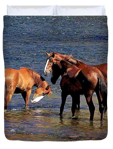 Arizona Wild Horses On The Salt River Duvet Cover