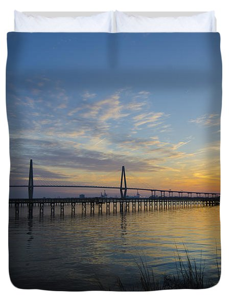 Sunset Over The Charleston Waters Duvet Cover by Dale Powell