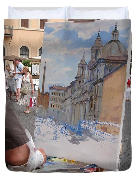 Artist At Work Rome Duvet Cover by Ylli Haruni