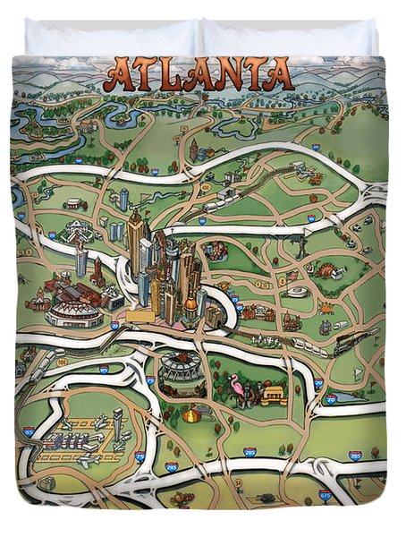 Atlanta Cartoon Map Duvet Cover