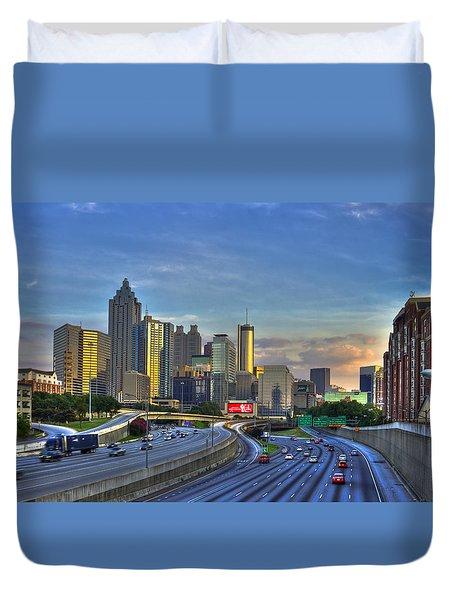 Atlanta Sunset Reflections Duvet Cover by Reid Callaway
