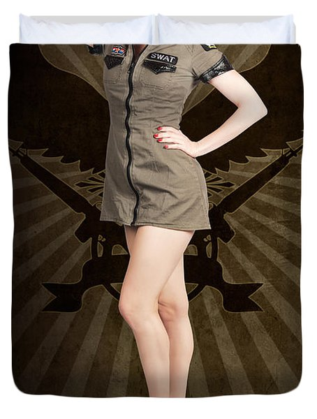Attractive Blond Pin-up Army Girl. Military Salute Duvet Cover