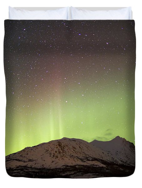 Aurora Borealis And Milky Way Duvet Cover by Joseph Bradley