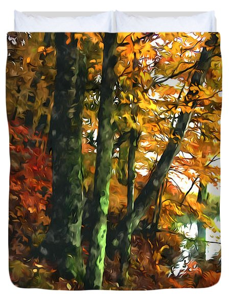 Autumn Colors In The Forest 1 Duvet Cover by Lanjee Chee