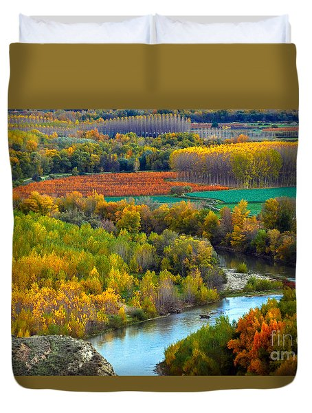 Autumn Colors On The Ebro River Duvet Cover