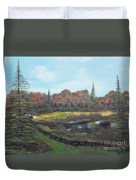 Duvet Cover featuring the painting Autumn Landscape by Jan Dappen
