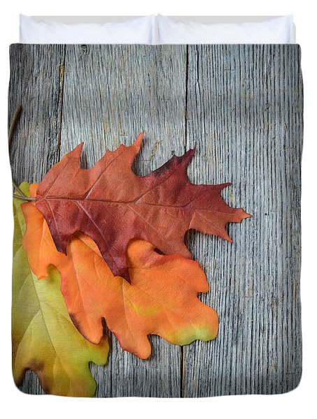 Autumn Leaves On Rustic Wooden Background Duvet Cover