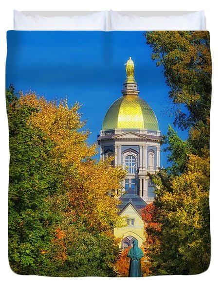 Autumn On The Campus Of Notre Dame Duvet Cover by Mountain Dreams