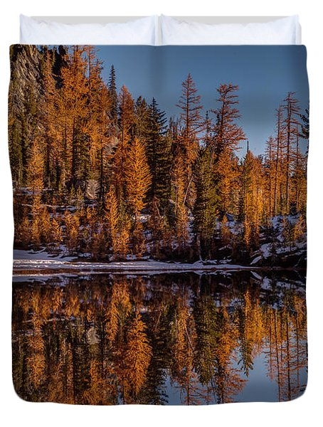 Autumn Reflected Duvet Cover by Mike Reid
