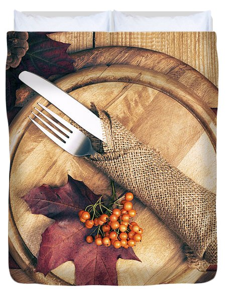Autumn Table Setting Duvet Cover by Amanda Elwell