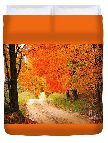 Duvet Cover featuring the photograph Autumn Trail by Terri Gostola