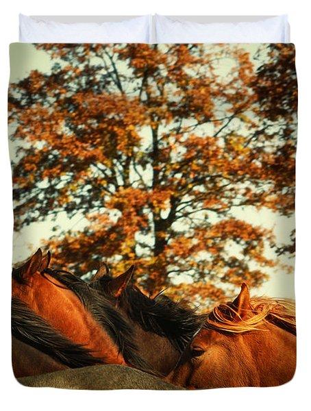 Autumn Wild Horses Duvet Cover