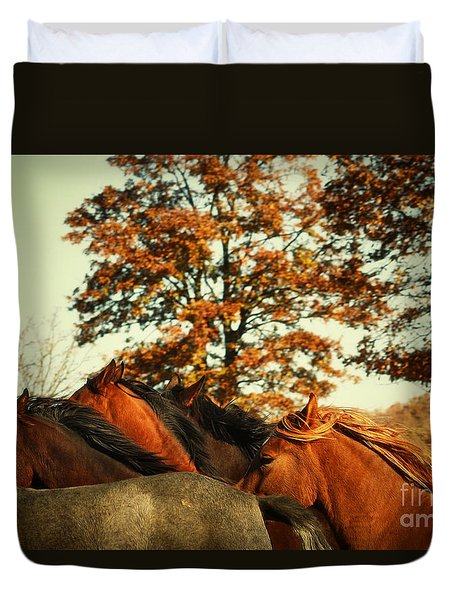 Autumn Wild Horses Duvet Cover