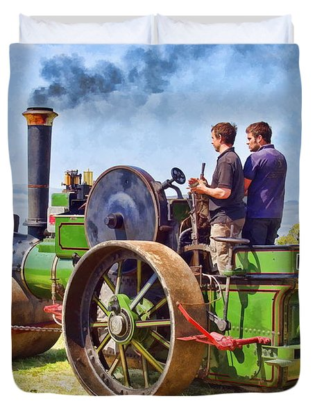Duvet Cover featuring the photograph Aveling Roller by Paul Gulliver