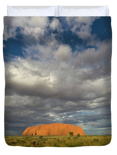 Ayers Rock And Storm Clouds Australia Duvet Cover