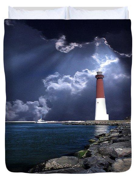Barnegat Inlet Lighthouse Nj Duvet Cover by Skip Willits