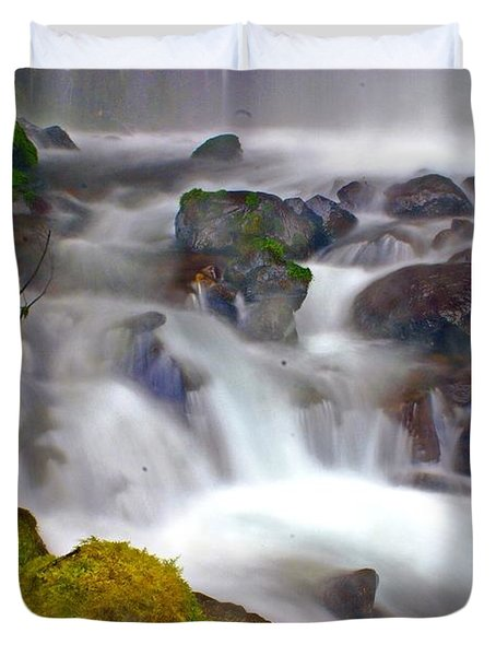 Base Of The Falls Duvet Cover by Marty Koch