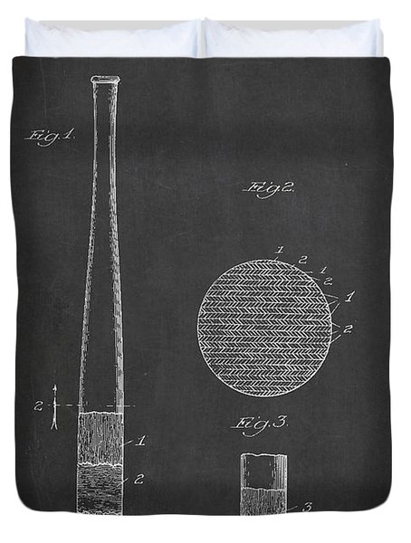 Baseball Bat Patent Drawing From 1920 Duvet Cover by Aged Pixel