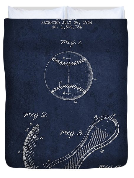 Baseball Cover Patent Drawing From 1924 Duvet Cover by Aged Pixel