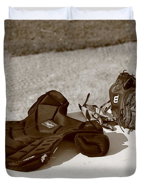 Baseball Glove And Chest Protector Duvet Cover by Frank Romeo