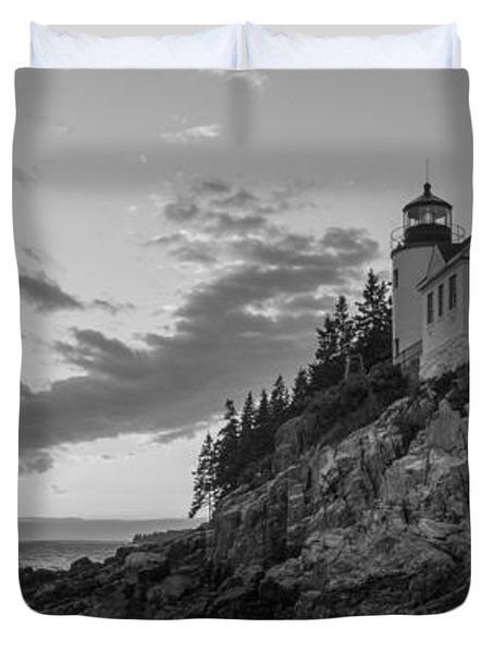 Bass Harbor Head Light Sunset  Duvet Cover