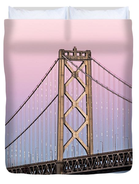 Duvet Cover featuring the photograph Bay Bridge Lights At Sunset by Kate Brown