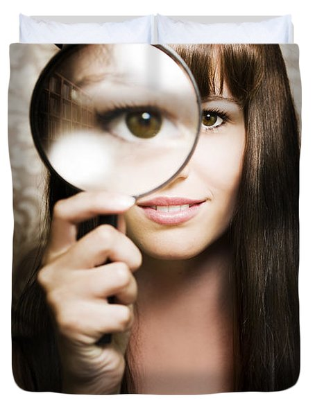 Beautiful Female Watching Through Magnifying Glass Duvet Cover