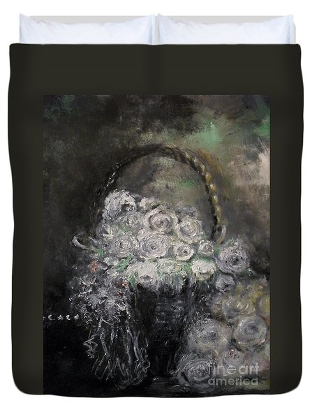 Duvet Cover featuring the painting Beautiful Roses by Laurie Lundquist