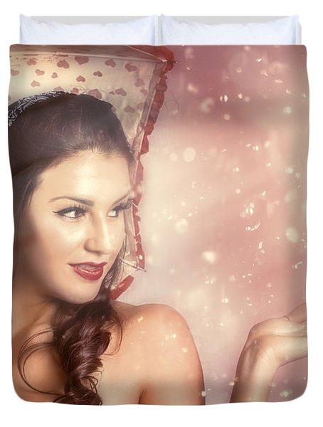 Beautiful Woman Catching Rain In Summer Sun Shower Duvet Cover