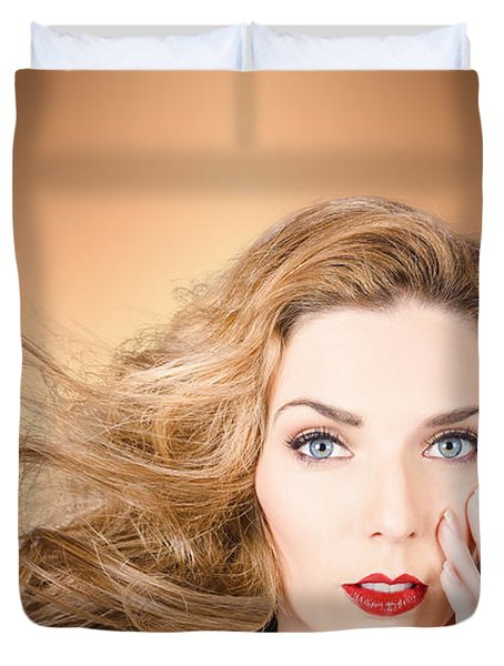 Beauty Portrait. Beautiful Woman And Long Red Hair Duvet Cover