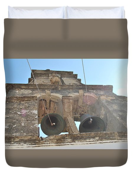Duvet Cover featuring the photograph Bell Tower 1584 by George Katechis