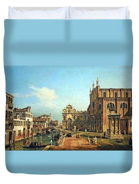 Bellotto's The Campo Di Ss. Giovanni E Paolo In Venice Duvet Cover by Cora Wandel