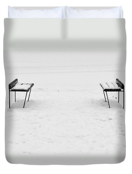 Benches On A Dock Duvet Cover