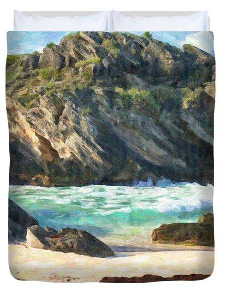 Duvet Cover featuring the photograph Bermuda Hidden Beach by Verena Matthew