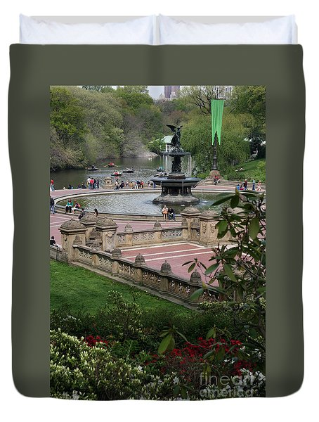 Bethesda Fountain - Central Park Nyc Duvet Cover by Christiane Schulze Art And Photography