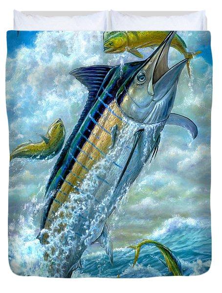 Big Jump Blue Marlin With Mahi Mahi Duvet Cover