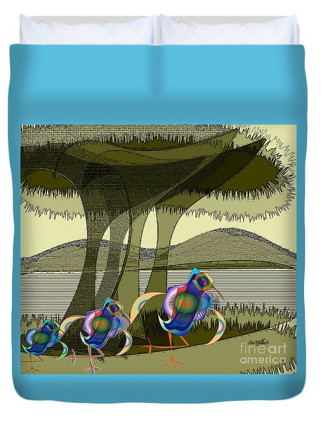 Bird Of A Different Colour Duvet Cover by Iris Gelbart
