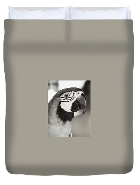 Duvet Cover featuring the photograph Black And White Parrot Beauty by Belinda Lee