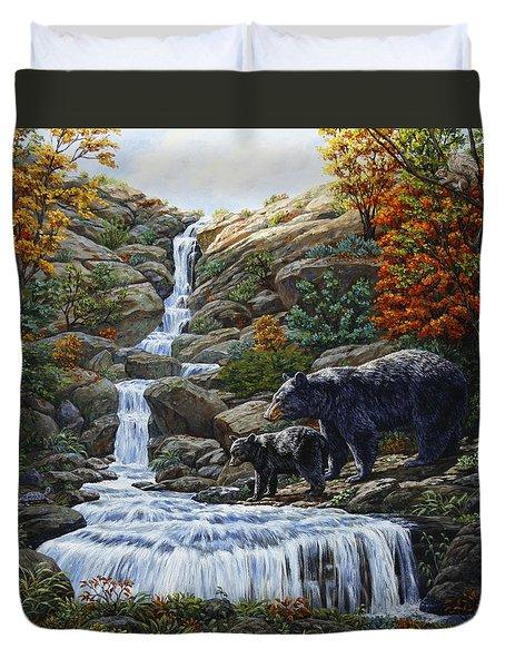 Black Bear Falls Duvet Cover