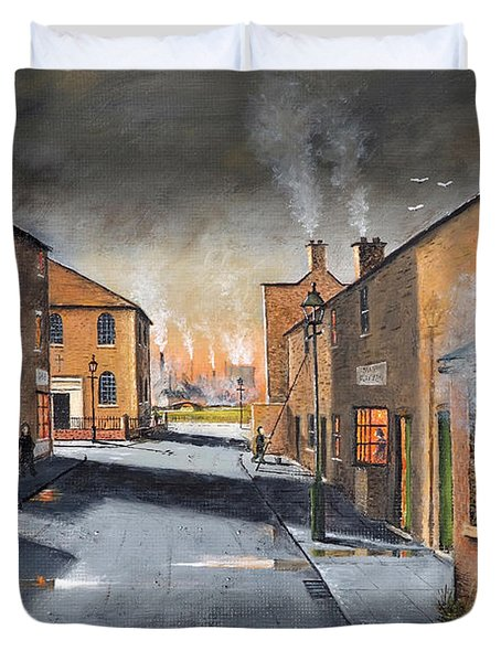 Black Country Village From The Boat Yard Duvet Cover