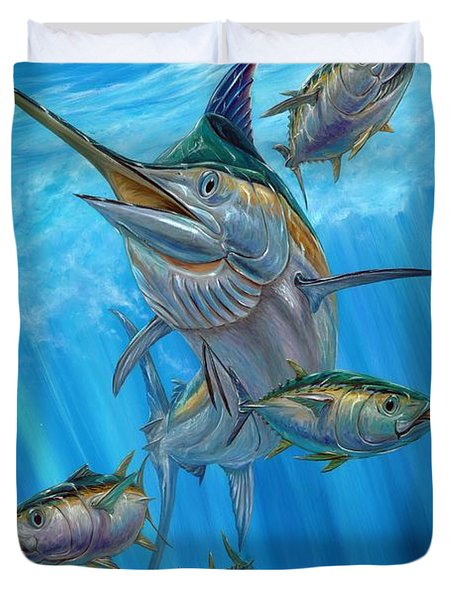 Black Marlin And Albacore Duvet Cover