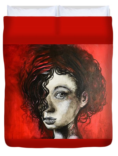Black Portrait 23 Duvet Cover
